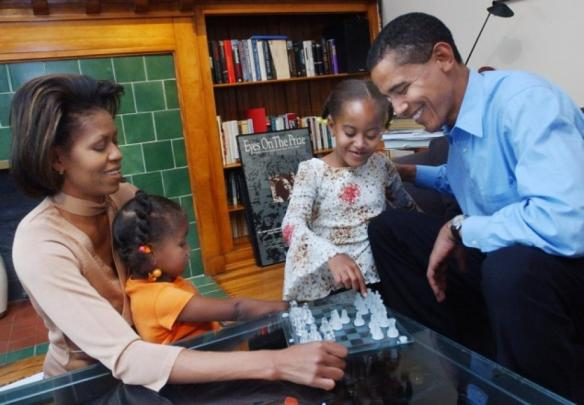 President Obama and Family Chess