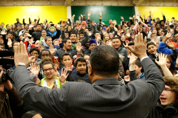 The Rev. Jesse Jackson leads students