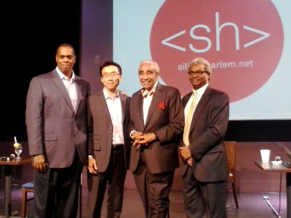 (l. to r.)Clayton Banks, Samsung President of Global Innovation Center David Eun, Congressman Charles Rangel, and Silicon Harlem Co-founder Bruce Lincoln. Click image to visit Silicon Harlem website
