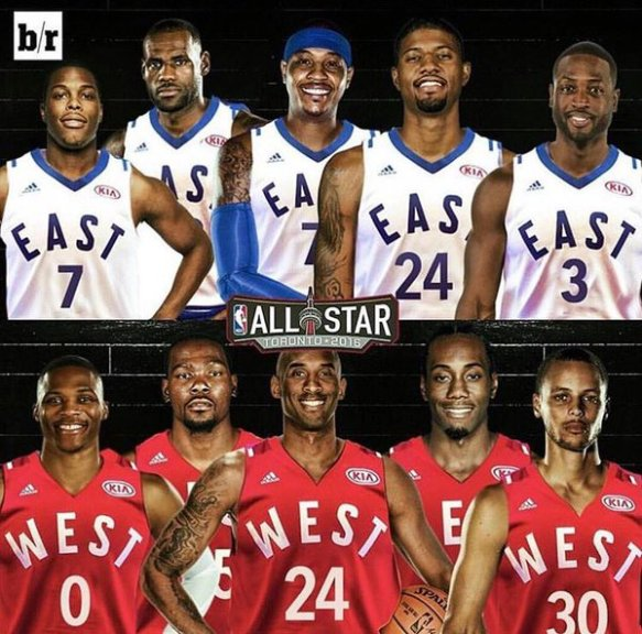 2016 NBA All-Star Starting Lineups