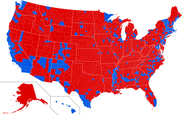 Results of the 2016 presidential election by county.