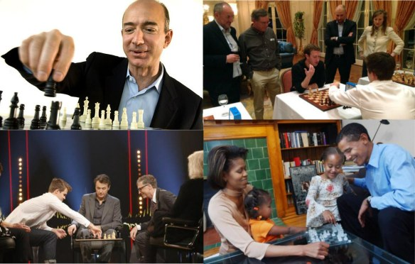 Bezos, Obama, Zuckerberg, and Gates playing chess